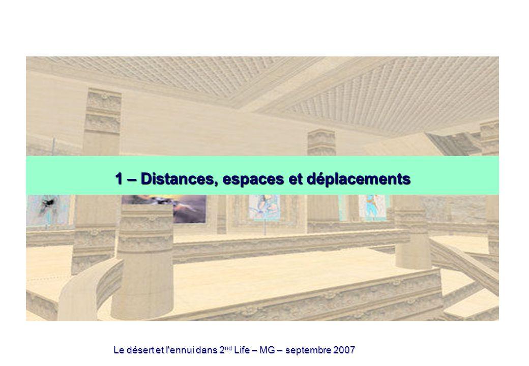 Le désert et l ennui dans 2 nd Life – MG – septembre 2007 1 – Distances, espaces et déplacements
