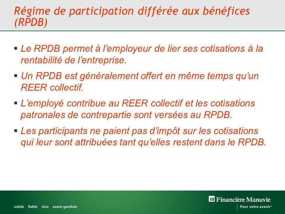 Régime de participation différée aux bénéfices (RPDB) Le RPDB permet à lemployeur de lier ses cotisations à la rentabilité de lentreprise.