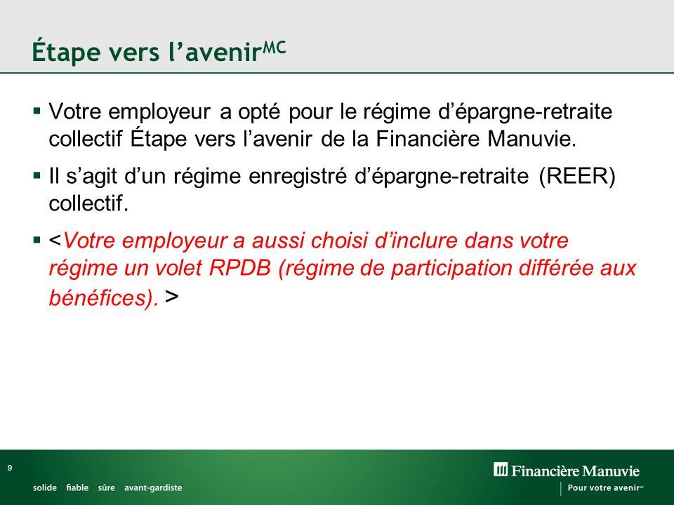 9 Étape vers lavenir MC Votre employeur a opté pour le régime dépargne-retraite collectif Étape vers lavenir de la Financière Manuvie.