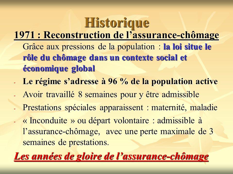 Historique 1971 : Reconstruction de lassurance-chômage Grâce aux pressions de la population : la loi situe le rôle du chômage dans un contexte social