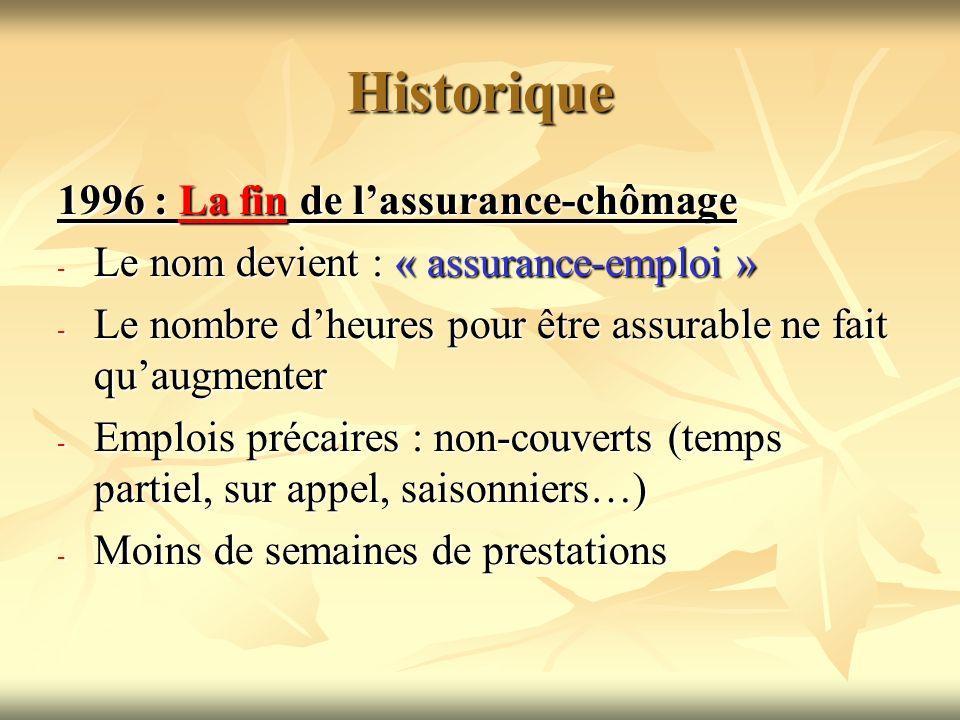 Historique 1996 : La fin de lassurance-chômage - Le nom devient : « assurance-emploi » - Le nombre dheures pour être assurable ne fait quaugmenter - E