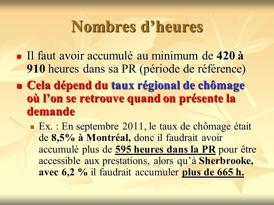 Nombres dheures Il faut avoir accumulé au minimum de 420 à 910 heures dans sa PR (période de référence) Il faut avoir accumulé au minimum de 420 à 910