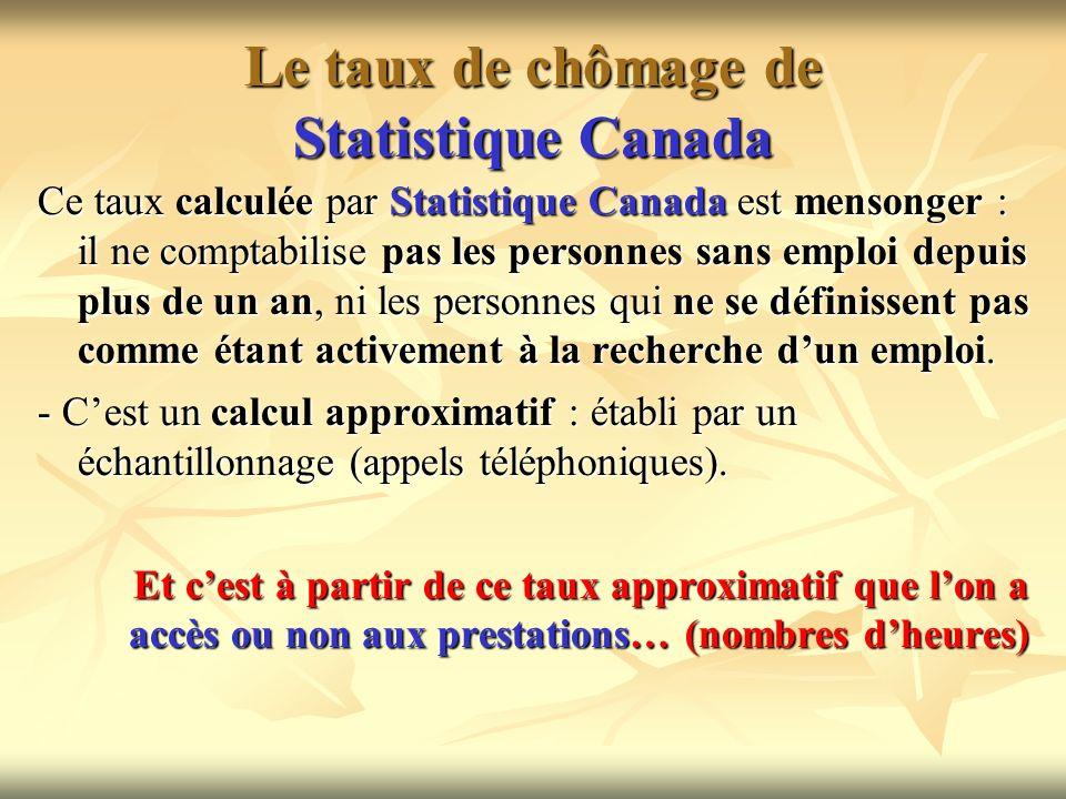 Le taux de chômage de Statistique Canada Ce taux calculée par Statistique Canada est mensonger : il ne comptabilise pas les personnes sans emploi depu