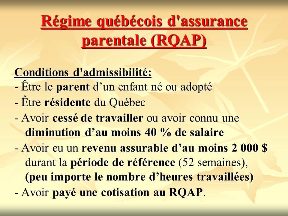 Régime québécois d'assurance parentale (RQAP) Conditions d'admissibilité: - Être le parent dun enfant né ou adopté - Être résidente du Québec - Avoir