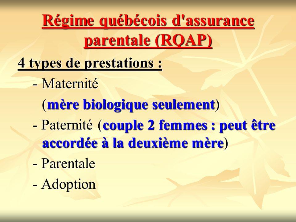 Régime québécois d'assurance parentale (RQAP) 4 types de prestations : -Maternité (mère biologique seulement) - Paternité (couple 2 femmes : peut être