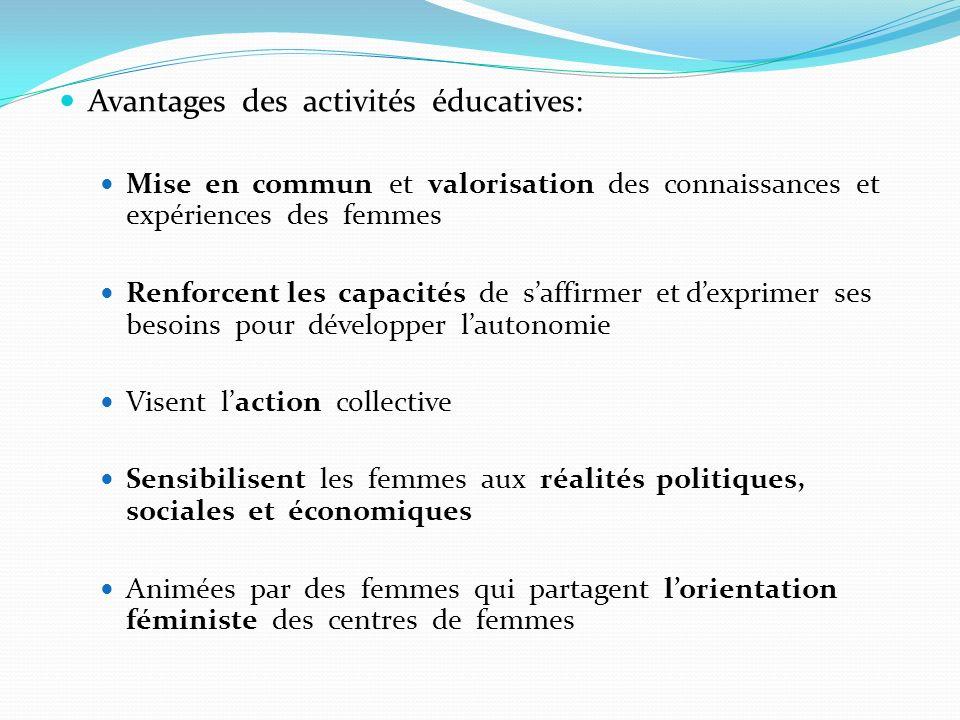 Avantages des activités éducatives: Mise en commun et valorisation des connaissances et expériences des femmes Renforcent les capacités de saffirmer e