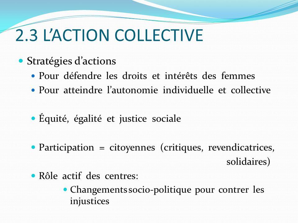 2.3 LACTION COLLECTIVE Stratégies dactions Pour défendre les droits et intérêts des femmes Pour atteindre lautonomie individuelle et collective Équité