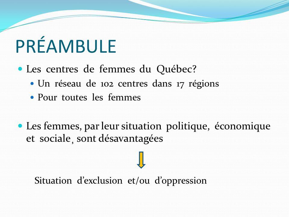 PRÉAMBULE Les centres de femmes du Québec? Un réseau de 102 centres dans 17 régions Pour toutes les femmes Les femmes, par leur situation politique, é