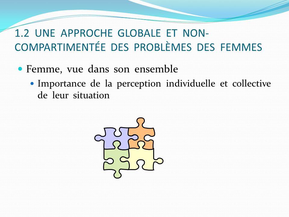 1.2 UNE APPROCHE GLOBALE ET NON- COMPARTIMENTÉE DES PROBLÈMES DES FEMMES Femme, vue dans son ensemble Importance de la perception individuelle et coll