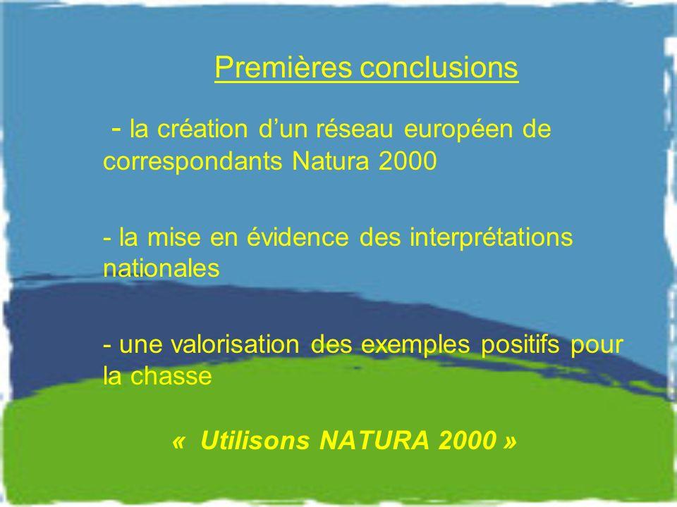 Premières conclusions - la création dun réseau européen de correspondants Natura 2000 - la mise en évidence des interprétations nationales - une valorisation des exemples positifs pour la chasse « Utilisons NATURA 2000 »