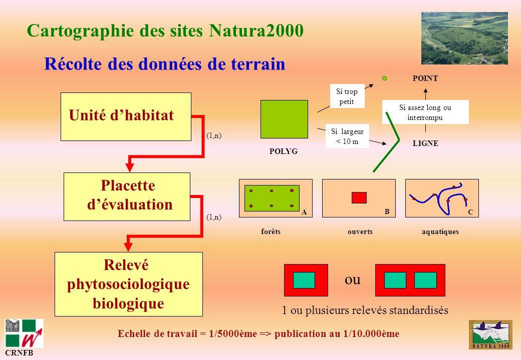 Unité dhabitat Placette dévaluation Relevé phytosociologique biologique Récolte des données de terrain Cartographie des sites Natura2000 (1,n) POLYG L