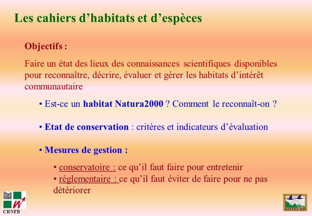 Les cahiers dhabitats et despèces CRNFB Objectifs : Faire un état des lieux des connaissances scientifiques disponibles pour reconnaître, décrire, éva