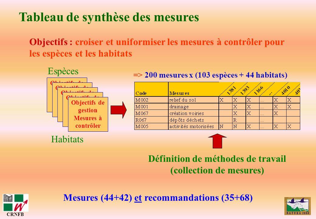 Tableau de synthèse des mesures CRNFB Mesures (44+42) et recommandations (35+68) Objectifs : croiser et uniformiser les mesures à contrôler pour les e