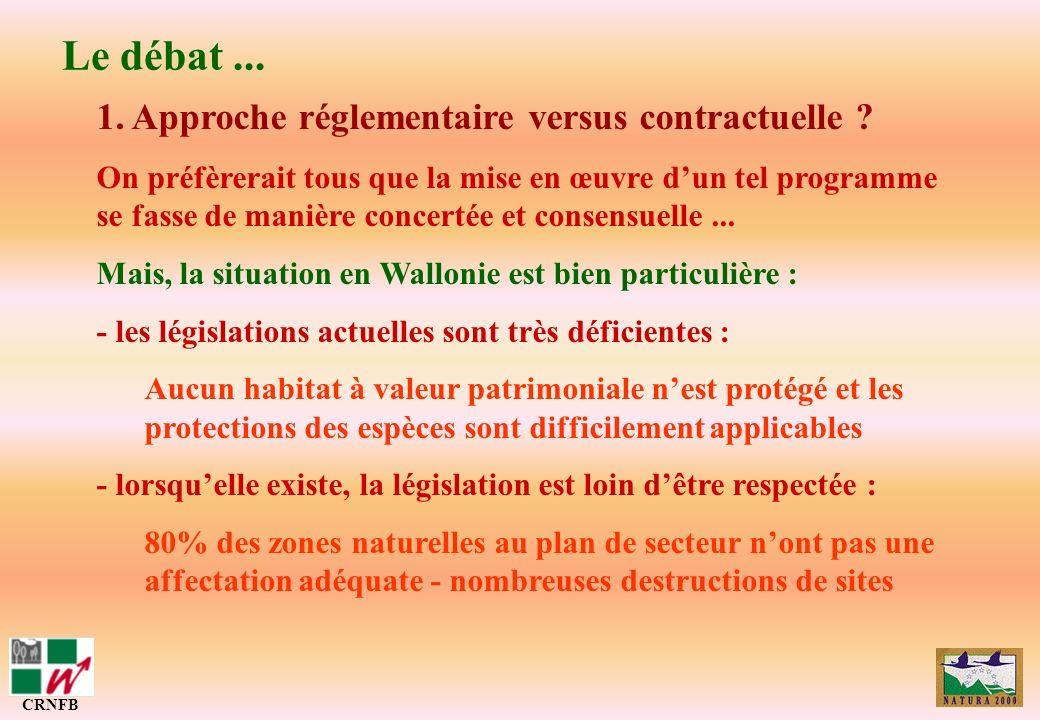 Le débat... CRNFB 1. Approche réglementaire versus contractuelle ? On préfèrerait tous que la mise en œuvre dun tel programme se fasse de manière conc