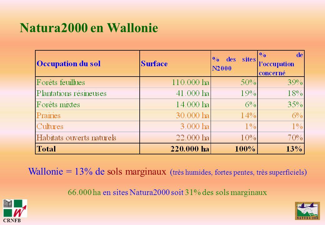 Natura2000 en Wallonie CRNFB Wallonie = 13% de sols marginaux ( très humides, fortes pentes, très superficiels ) 66.000 ha en sites Natura2000 soit 31
