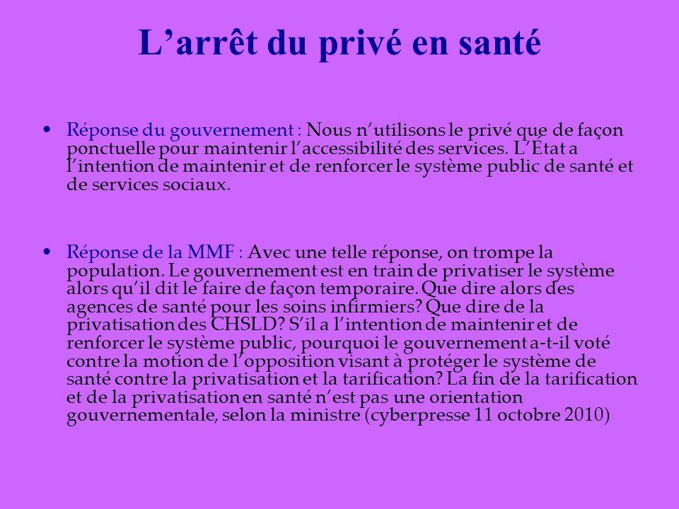 Larrêt du privé en santé Réponse du gouvernement : Nous nutilisons le privé que de façon ponctuelle pour maintenir laccessibilité des services.