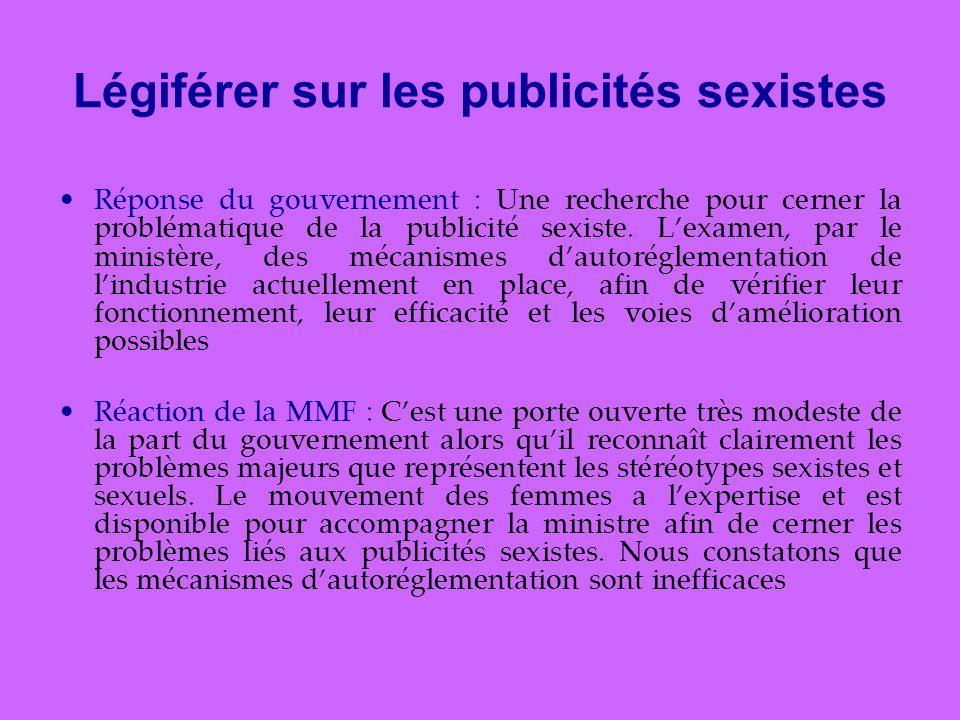 Légiférer sur les publicités sexistes Réponse du gouvernement : Une recherche pour cerner la problématique de la publicité sexiste.