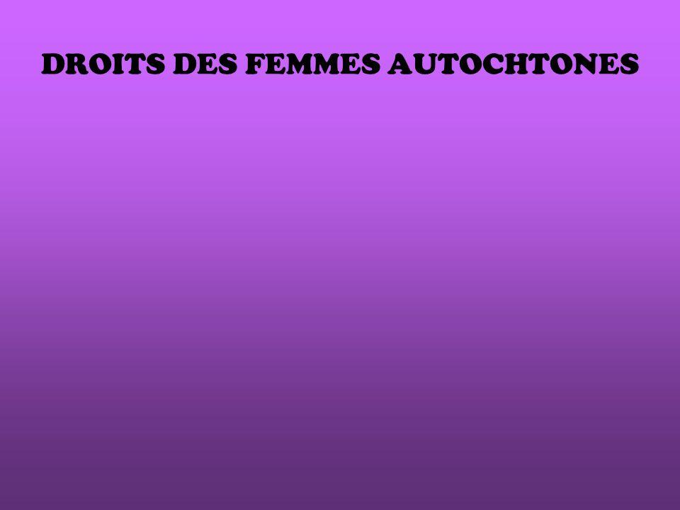 DROITS DES FEMMES AUTOCHTONES