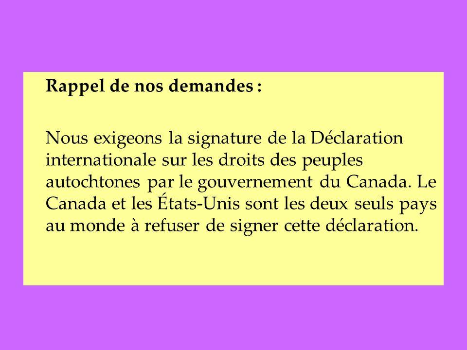 Rappel de nos demandes : Nous exigeons la signature de la Déclaration internationale sur les droits des peuples autochtones par le gouvernement du Canada.