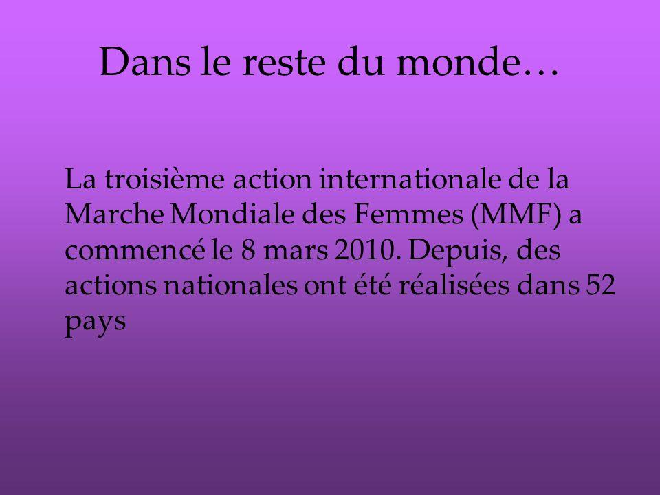 Dans le reste du monde… La troisième action internationale de la Marche Mondiale des Femmes (MMF) a commencé le 8 mars 2010.