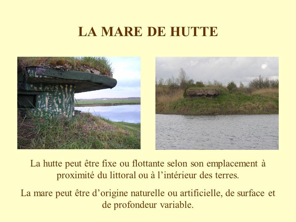 LA MARE DE HUTTE La hutte peut être fixe ou flottante selon son emplacement à proximité du littoral ou à lintérieur des terres. La mare peut être dori