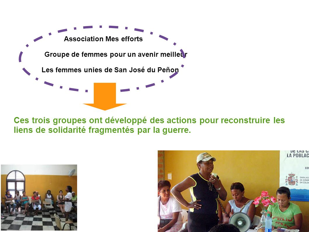 Association Mes efforts Groupe de femmes pour un avenir meilleur Les femmes unies de San José du Peñon Ces trois groupes ont développé des actions pour reconstruire les liens de solidarité fragmentés par la guerre.