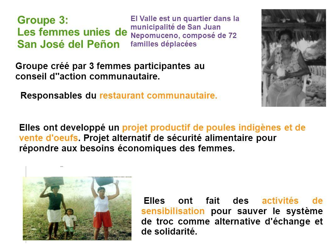 Groupe 3: Les femmes unies de San José del Peñon Groupe créé par 3 femmes participantes au conseil d action communautaire.