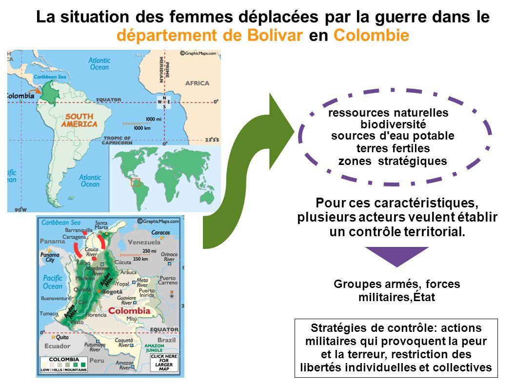 La situation des femmes déplacées par la guerre dans le département de Bolivar en Colombie Pour ces caractéristiques, plusieurs acteurs veulent établir un contrôle territorial.
