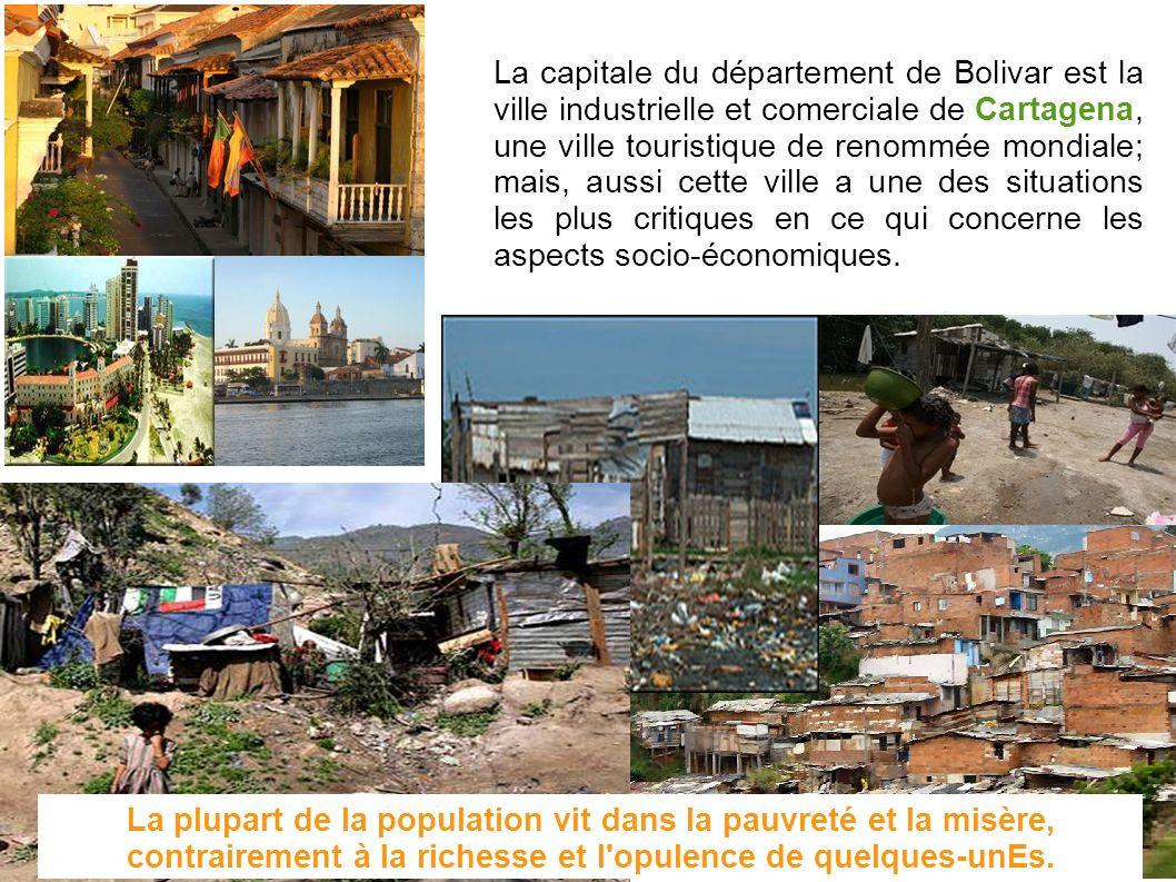 La capitale du département de Bolivar est la ville industrielle et comerciale de Cartagena, une ville touristique de renommée mondiale; mais, aussi cette ville a une des situations les plus critiques en ce qui concerne les aspects socio-économiques.