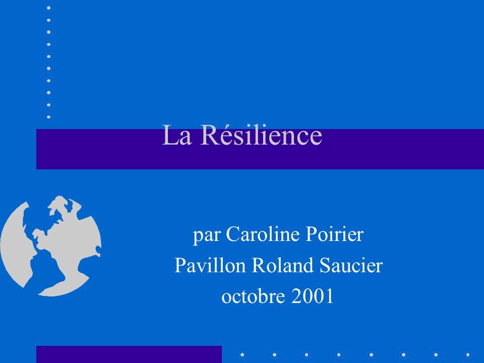 La Résilience par Caroline Poirier Pavillon Roland Saucier octobre 2001
