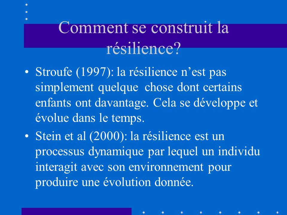 Comment se construit la résilience? Stroufe (1997): la résilience nest pas simplement quelque chose dont certains enfants ont davantage. Cela se dével