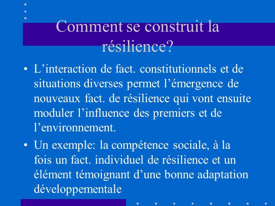 Comment se construit la résilience? Linteraction de fact. constitutionnels et de situations diverses permet lémergence de nouveaux fact. de résilience