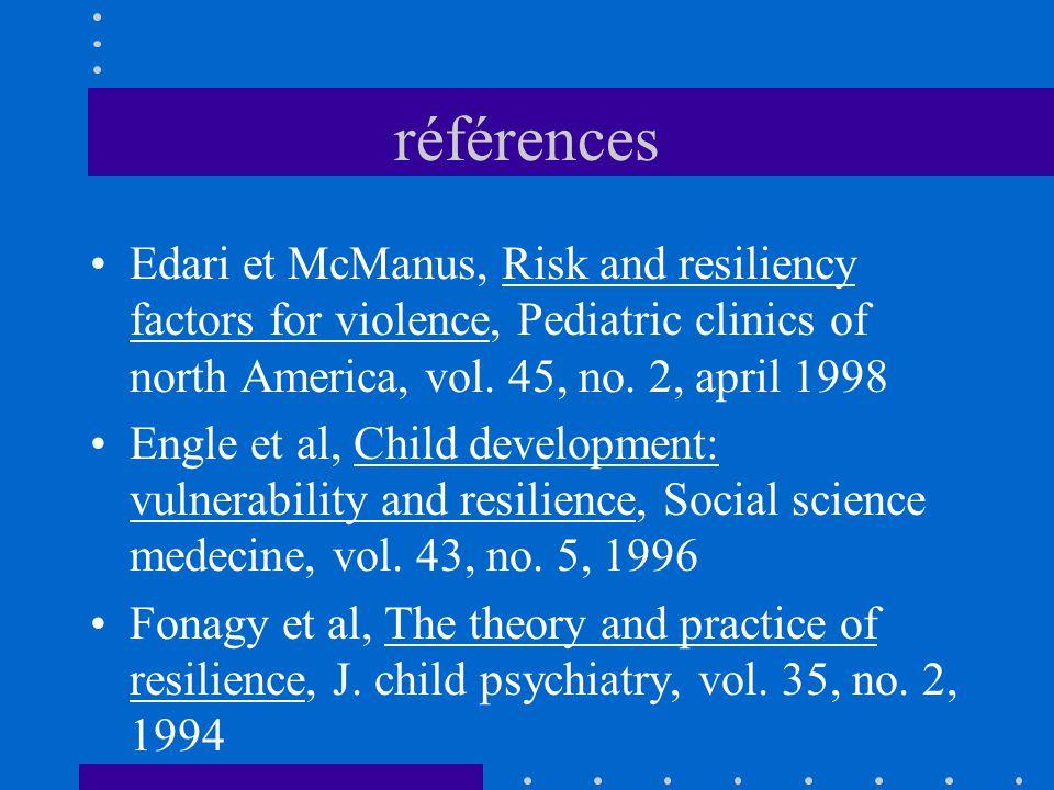 références Edari et McManus, Risk and resiliency factors for violence, Pediatric clinics of north America, vol. 45, no. 2, april 1998 Engle et al, Chi