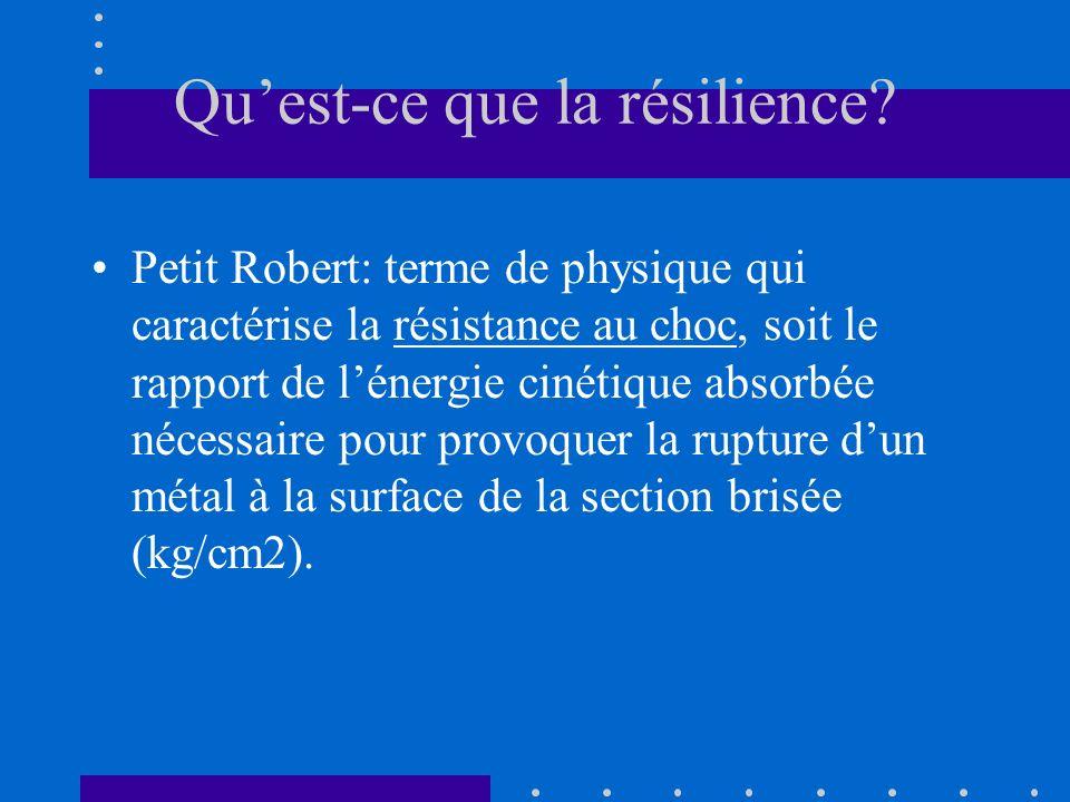 Quest-ce que la résilience? Petit Robert: terme de physique qui caractérise la résistance au choc, soit le rapport de lénergie cinétique absorbée néce