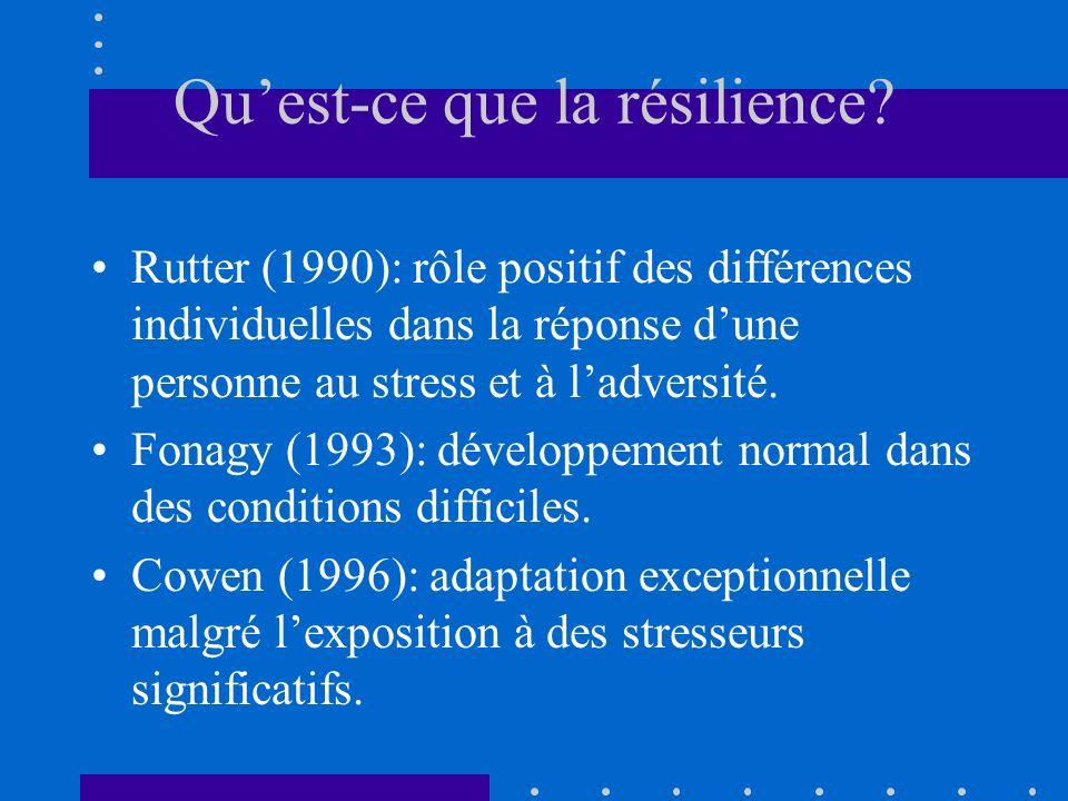 Quest-ce que la résilience? Rutter (1990): rôle positif des différences individuelles dans la réponse dune personne au stress et à ladversité. Fonagy
