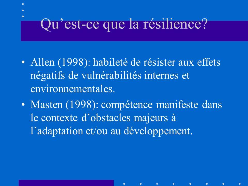 Quest-ce que la résilience? Allen (1998): habileté de résister aux effets négatifs de vulnérabilités internes et environnementales. Masten (1998): com