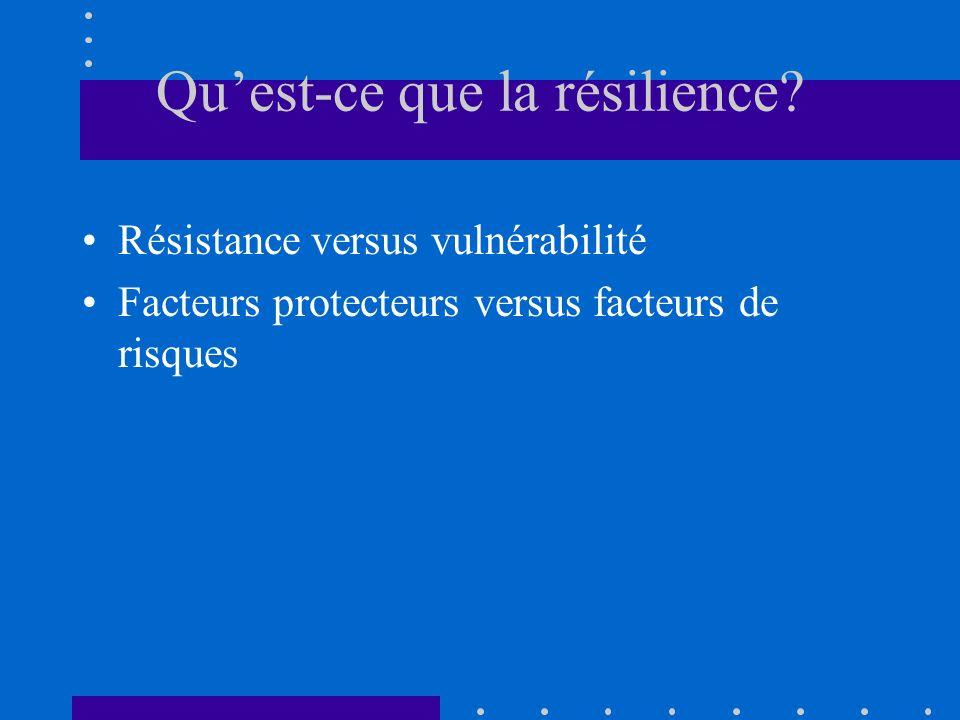 Quest-ce que la résilience? Résistance versus vulnérabilité Facteurs protecteurs versus facteurs de risques