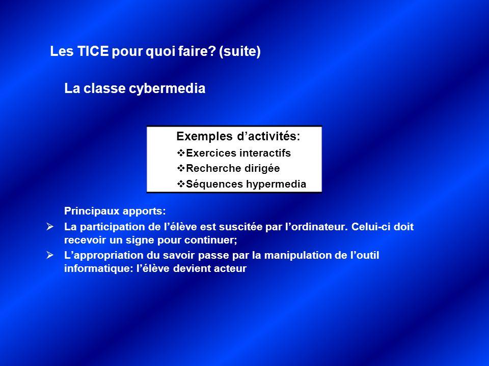 Les TICE pour quoi faire? (suite) La classe cybermedia Principaux apports: La participation de lélève est suscitée par lordinateur. Celui-ci doit rece