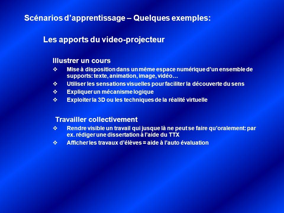 Les apports du video-projecteur Illustrer un cours Mise à disposition dans un même espace numérique dun ensemble de supports: texte, animation, image,