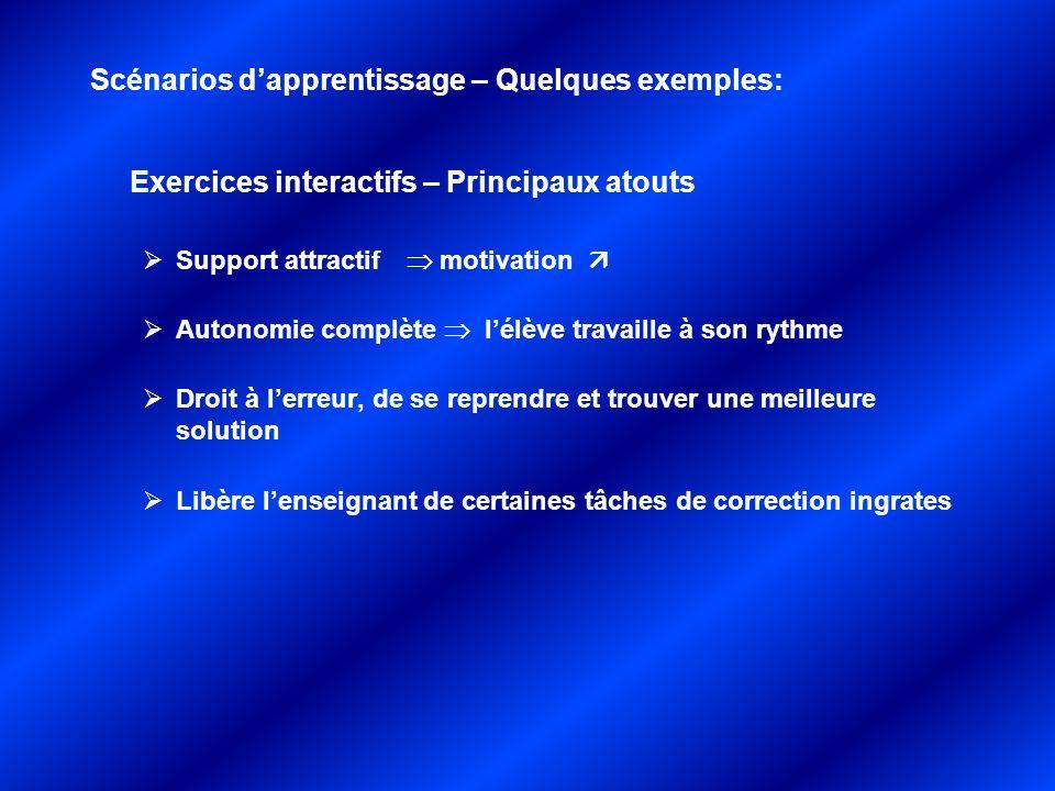 Exercices interactifs – Principaux atouts Support attractif motivation Autonomie complète lélève travaille à son rythme Droit à lerreur, de se reprend