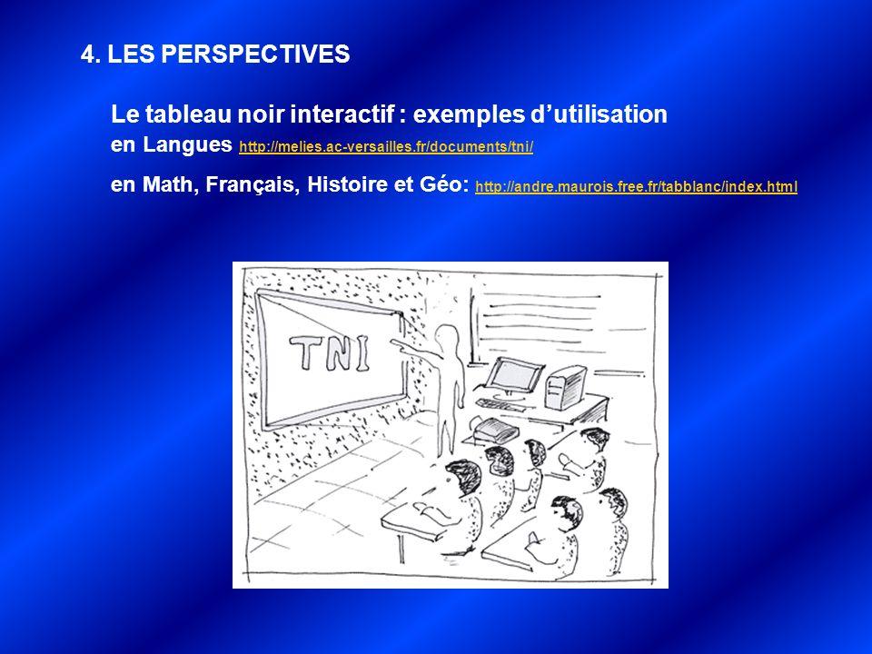 4. LES PERSPECTIVES Le tableau noir interactif : exemples dutilisation en Langues http://melies.ac-versailles.fr/documents/tni/ http://melies.ac-versa