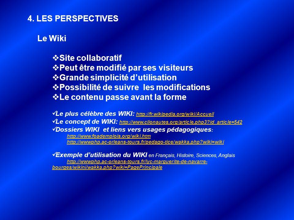 4. LES PERSPECTIVES. Le Wiki Site collaboratif Peut être modifié par ses visiteurs Grande simplicité dutilisation Possibilité de suivre les modificati