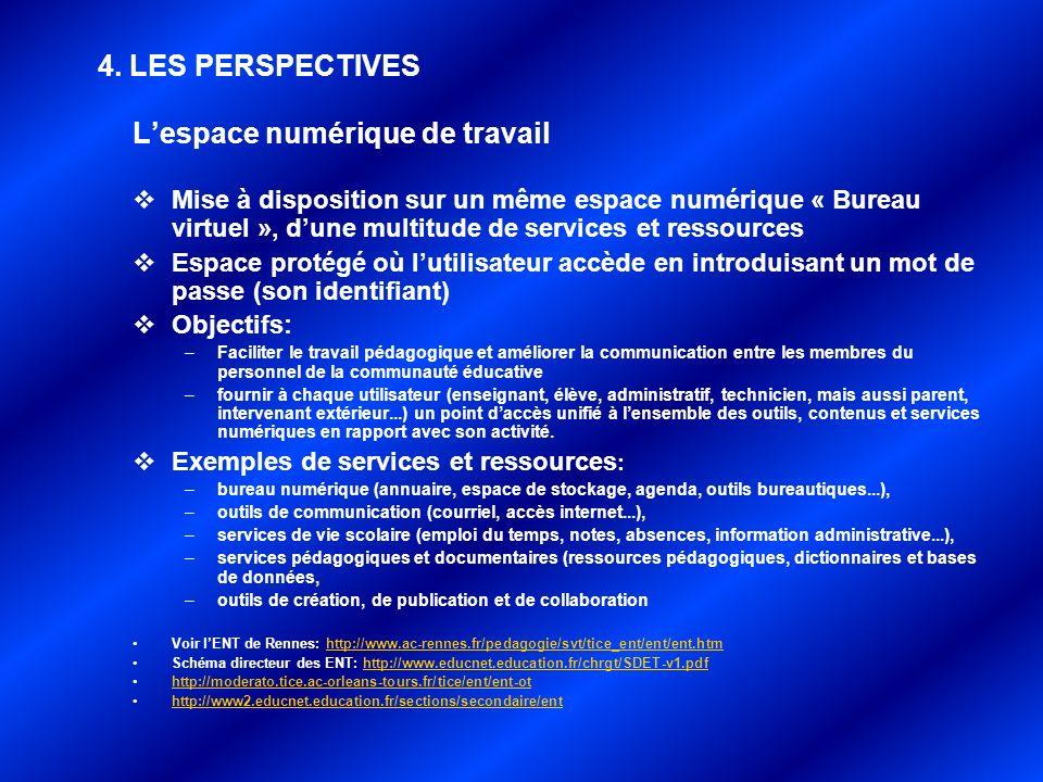 Lespace numérique de travail Mise à disposition sur un même espace numérique « Bureau virtuel », dune multitude de services et ressources Espace proté