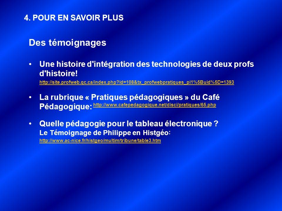 Des témoignages Une histoire d'intégration des technologies de deux profs d'histoire! http://site.profweb.qc.ca/index.php?id=108&tx_profwebpratiques_p