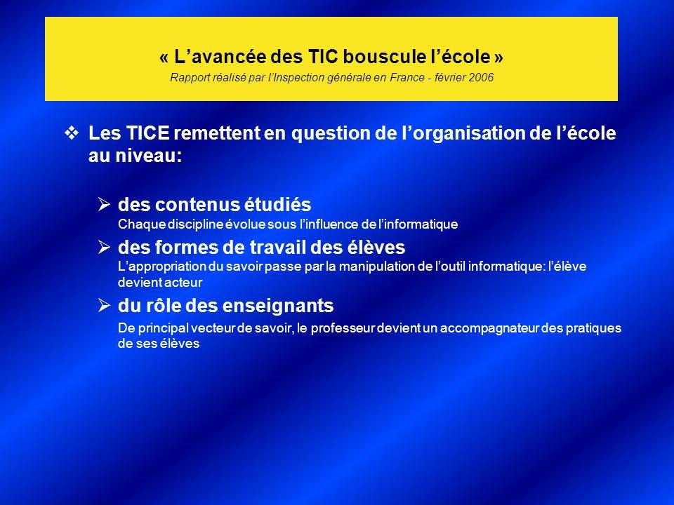 « Lavancée des TIC bouscule lécole » Rapport réalisé par lInspection générale en France - février 2006 Les TICE remettent en question de lorganisation