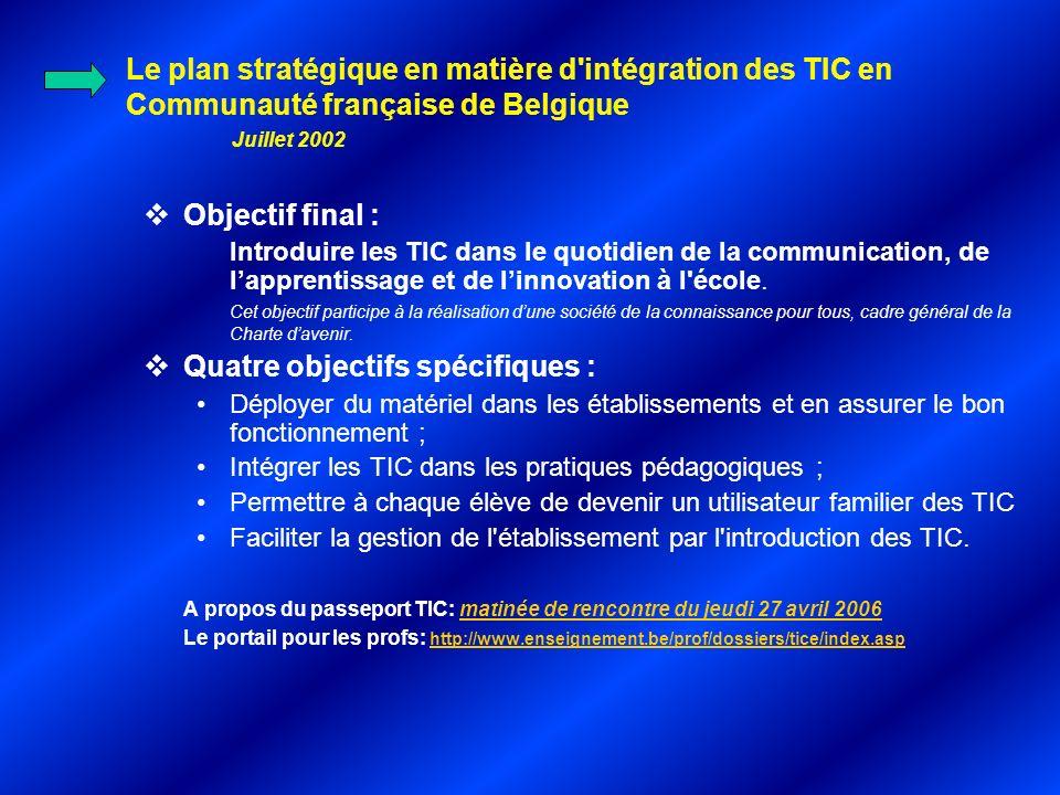 Le plan stratégique en matière d intégration des TIC en Communauté française de Belgique Juillet 2002 Objectif final : Introduire les TIC dans le quotidien de la communication, de lapprentissage et de linnovation à l école.