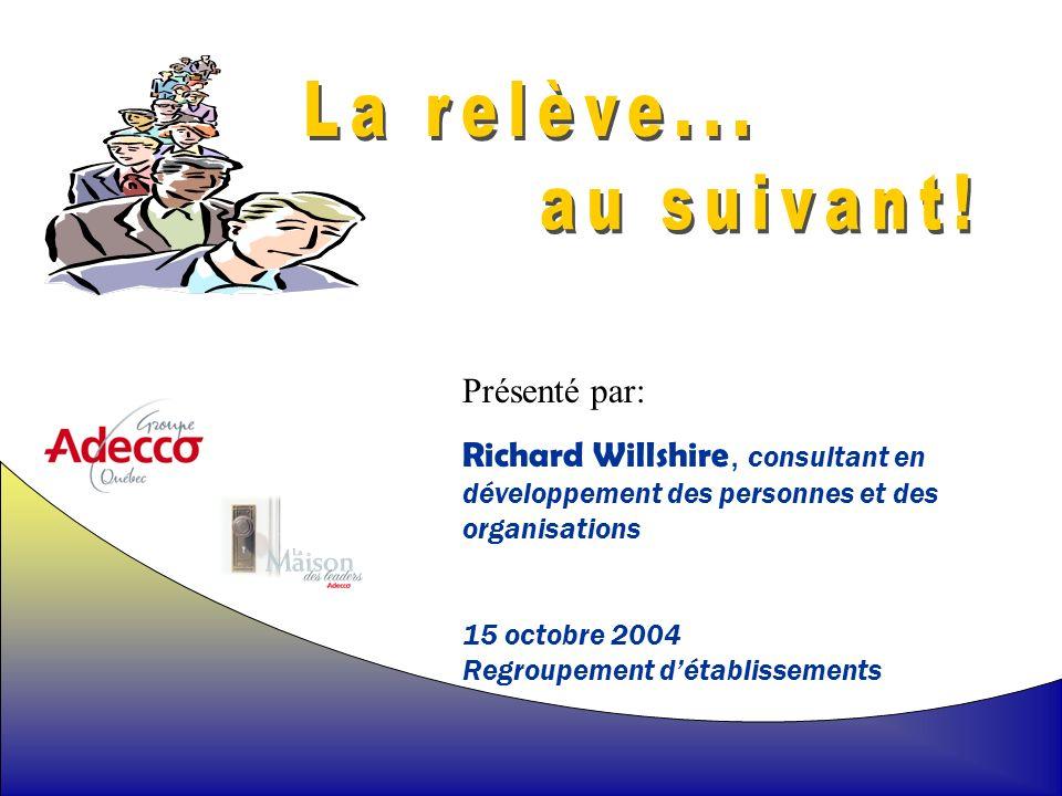 1 Présenté par: Richard Willshire, consultant en développement des personnes et des organisations 15 octobre 2004 Regroupement détablissements