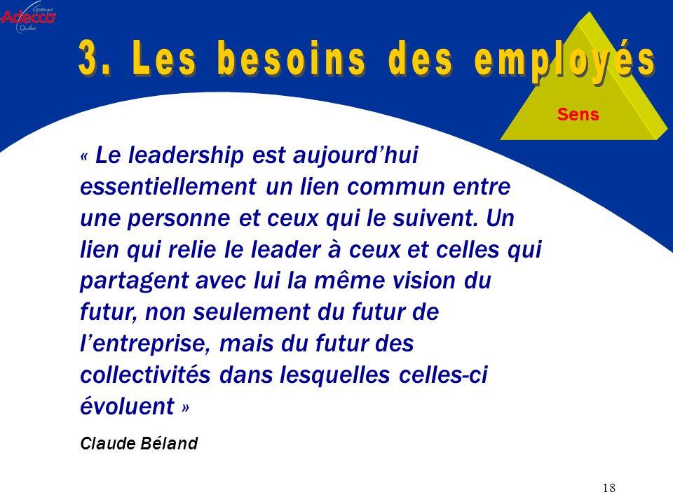 18 Sens « Le leadership est aujourdhui essentiellement un lien commun entre une personne et ceux qui le suivent.