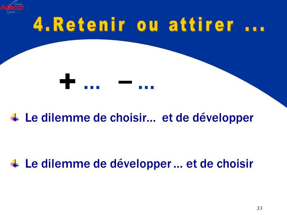 33 Le dilemme de choisir… et de développer Le dilemme de développer … et de choisir … -- …