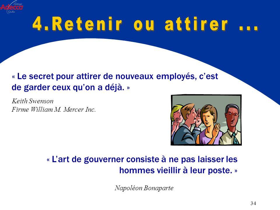 34 « Le secret pour attirer de nouveaux employés, cest de garder ceux quon a déjà.